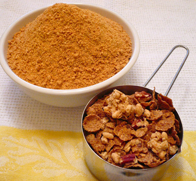 Graham cracker crumbs and maple-pecan cereal