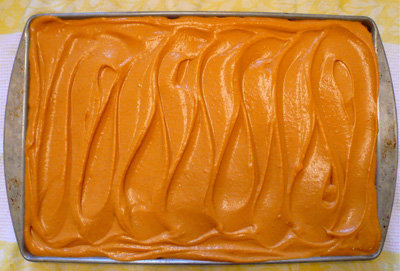 Sweet potato topping swirled on crust