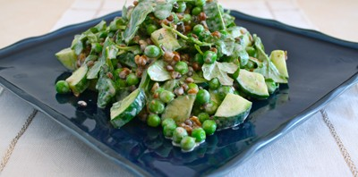 Lentils and Crunchy Greens with Sour Cream-Tarragon Dressing