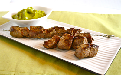 Skewered Steak Tips with Avocado Gastrique | Black Girl Chef's Whites