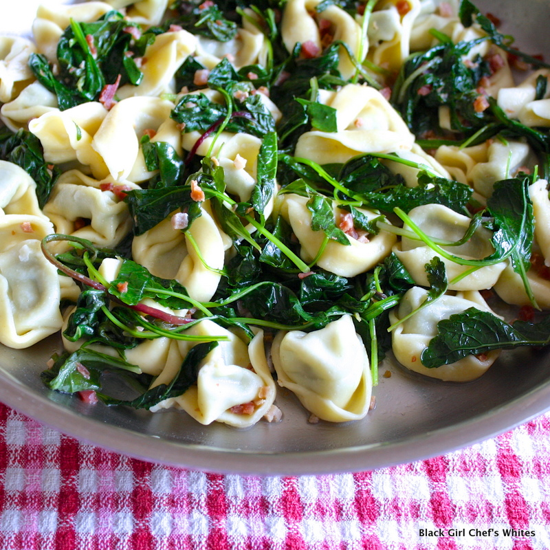 Tortelonni with Pancetta and Greens | Black Girl Chef's Whites