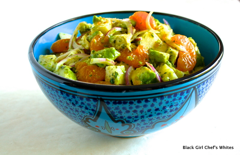 Avocado, Mandarin Orange and Jicama Salad with Key Lime Dressing | Black Girl Chef's Whites