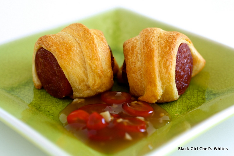 Chinese Lap Cheong Sausage Pigs in a Blanket | Black Girl Chef's Whites