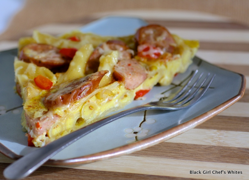 Three Cheese Italian Style Sausage and Penne Frittata | Black Girl Chefs Whites