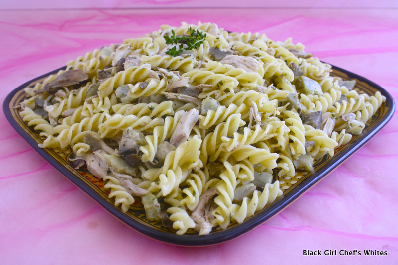 Slow Cooker Chicken and Artichoke Pasta | Black Girl Chef's Whites