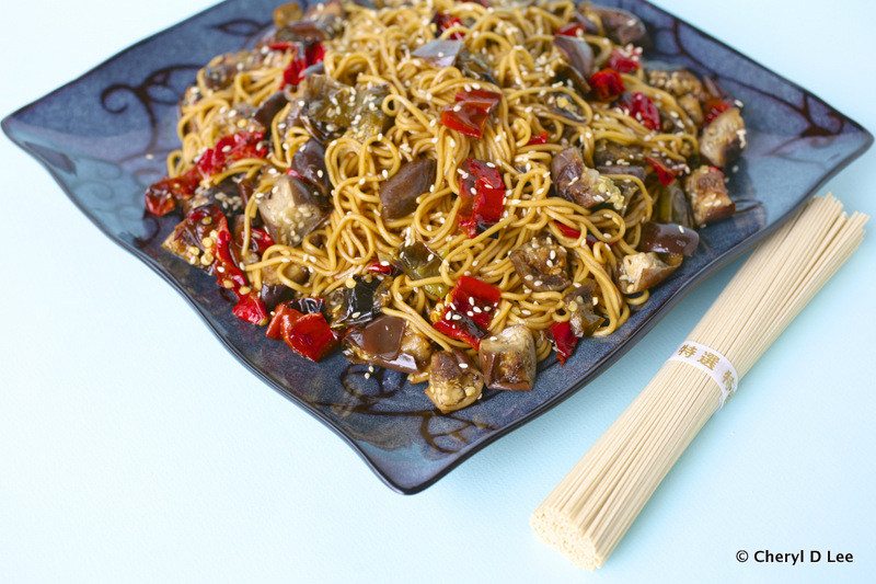 Ramen Salad with Roasted Eggplant and Shishito Peppers | Black Girl Chef's Whites