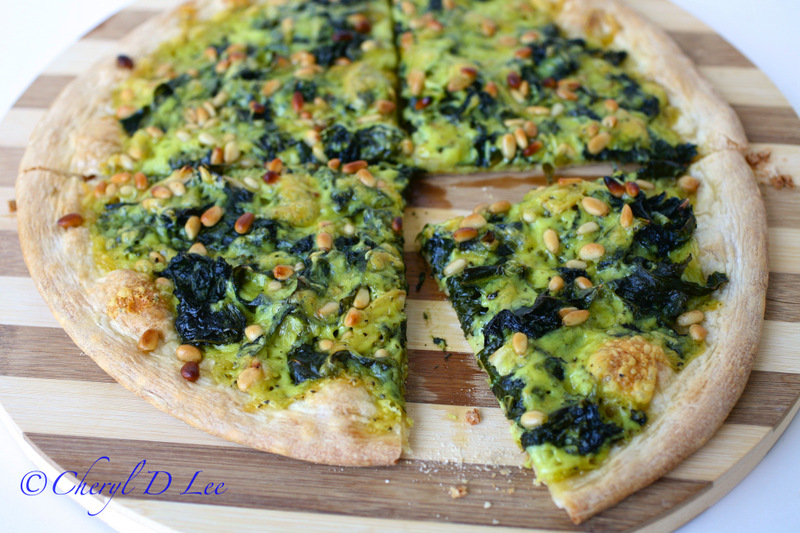 Power Greens Pizza with Pine Nuts