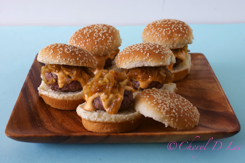 Sliders with Caramelized Onions and Sriracha Mayo