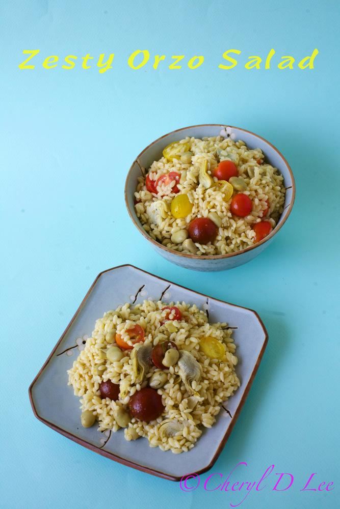 Orzo Salad with Fava Beans, Artichoke Hearts and Tomatoes