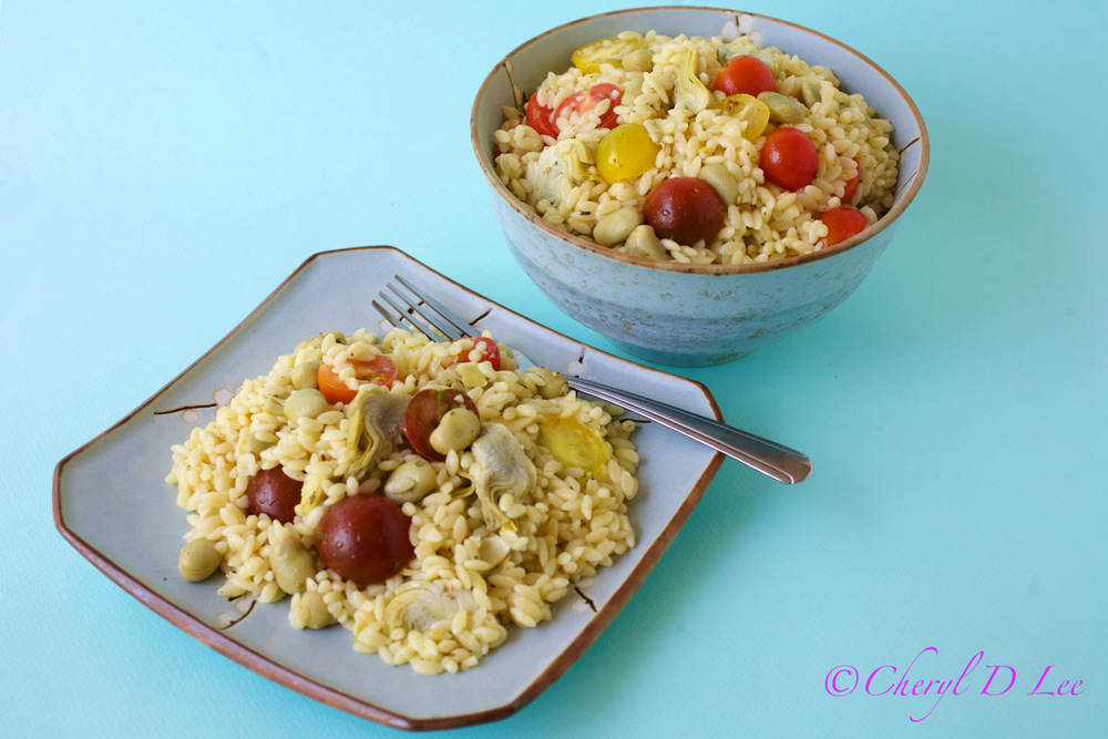 Orzo Salad with Fava Bean, Artichoke Hearts and Tomatoes