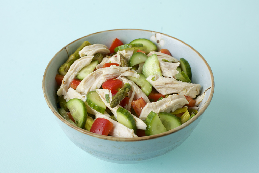 Chicken Salad with Roasted Asparagus, Red Pepper and Cucumber