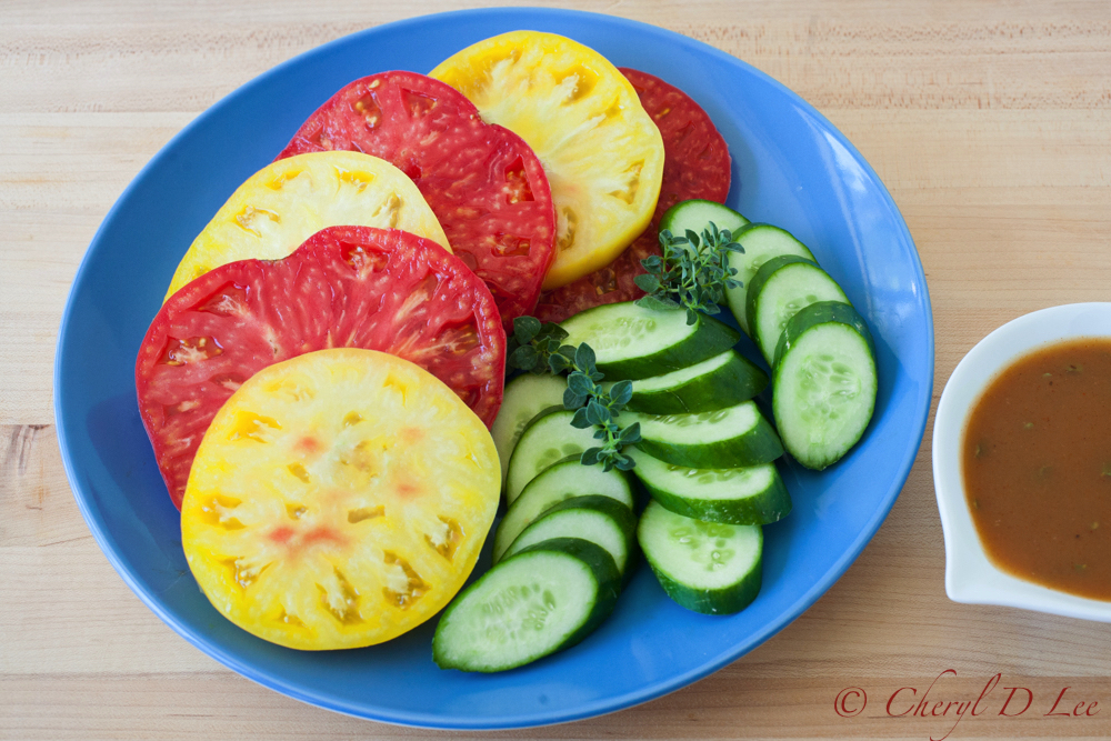 Summer Heirloom Tomato and Cucumber Salad with Tangerine Hatch Chile Vinaigrette